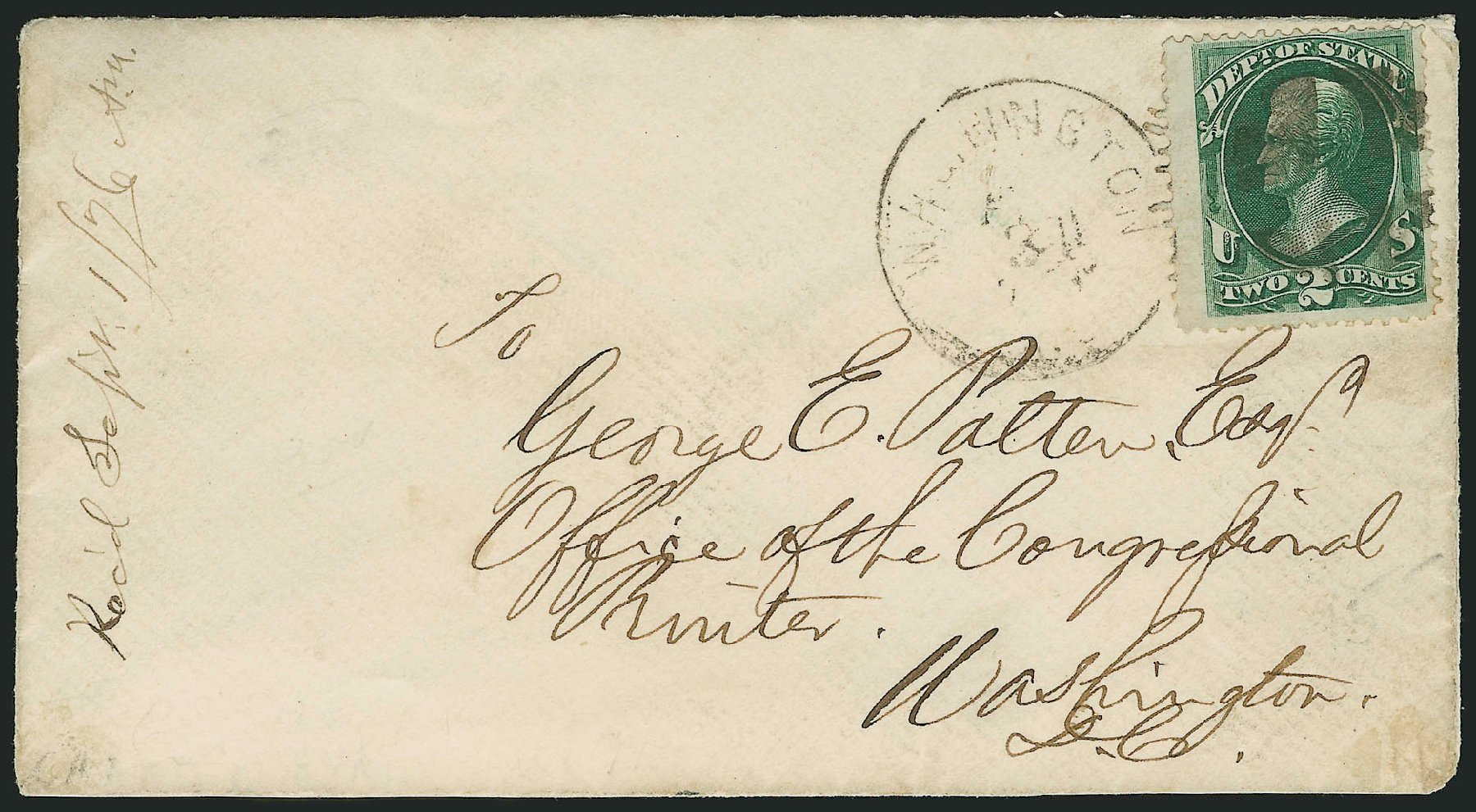 US Stamp Values Scott Catalogue O58 - 1873 2c State Official. Robert Siegel Auction Galleries, Nov 2014, Sale 1085, Lot 4110