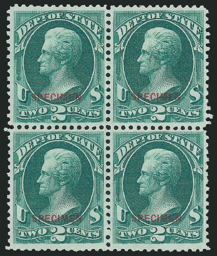 US Stamp Value Scott Catalogue #O58: 2c 1873 State Official. Robert Siegel Auction Galleries, Dec 2011, Sale 1017, Lot 991