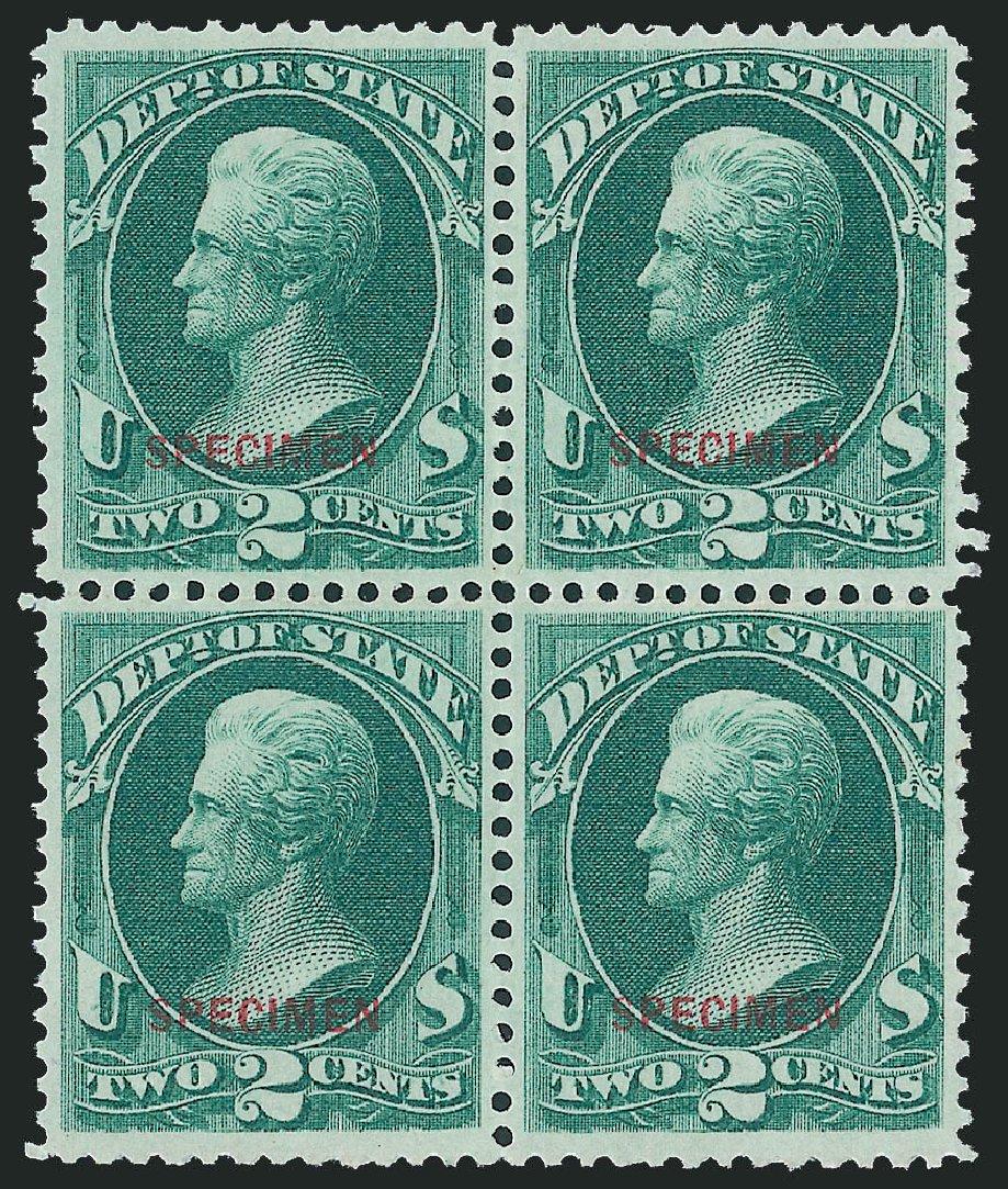US Stamp Value Scott Catalogue #O58: 2c 1873 State Official. Robert Siegel Auction Galleries, Dec 2011, Sale 1017, Lot 991