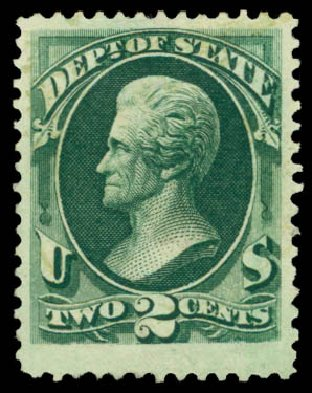 Prices of US Stamp Scott Catalog O58: 2c 1873 State Official. Daniel Kelleher Auctions, Dec 2014, Sale 661, Lot 464