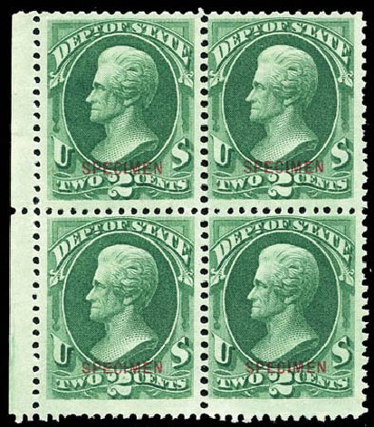 Costs of US Stamp Scott Catalogue #O58 - 1873 2c State Official. Matthew Bennett International, Sep 2011, Sale 338, Lot 2055