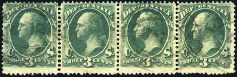 Costs of US Stamps Scott #O59 - 1873 3c State Official. Harmer-Schau Auction Galleries, Aug 2011, Sale 90, Lot 1740