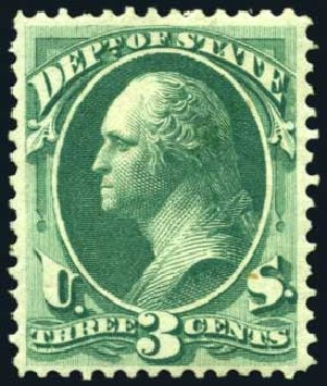Price of US Stamp Scott Catalog O59: 3c 1873 State Official. Harmer-Schau Auction Galleries, Oct 2008, Sale 79, Lot 282