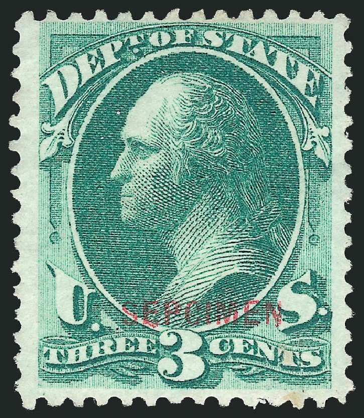 Cost of US Stamp Scott Catalog #O59 - 3c 1873 State Official. Robert Siegel Auction Galleries, Mar 2015, Sale 1095, Lot 626