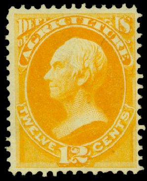 US Stamp Values Scott Catalogue # O6: 1873 12c Agriculture Official. Daniel Kelleher Auctions, Dec 2013, Sale 640, Lot 587