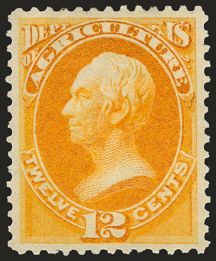 US Stamp Values Scott Catalogue #O6 - 12c 1873 Agriculture Official. Robert Siegel Auction Galleries, Sep 2008, Sale 962, Lot 3027