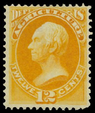 US Stamp Value Scott Catalogue #O6 - 1873 12c Agriculture Official. Daniel Kelleher Auctions, Jun 2012, Sale 630, Lot 2100