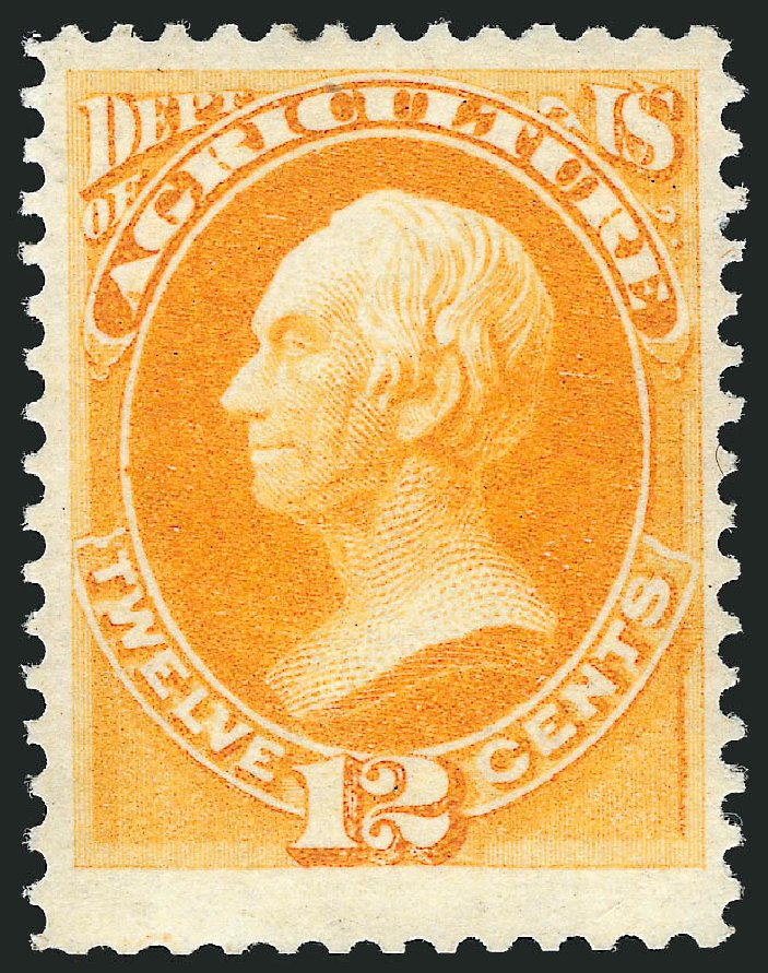 US Stamps Values Scott Catalog #O6 - 1873 12c Agriculture Official. Robert Siegel Auction Galleries, Mar 2011, Sale 1007, Lot 3030