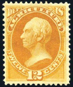 US Stamps Value Scott Cat. #O6 - 12c 1873 Agriculture Official. Harmer-Schau Auction Galleries, Feb 2010, Sale 84, Lot 1811