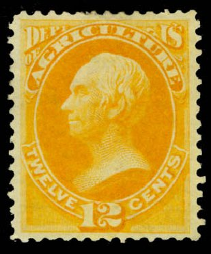 US Stamps Value Scott Cat. O6: 12c 1873 Agriculture Official. Daniel Kelleher Auctions, May 2015, Sale 669, Lot 3334