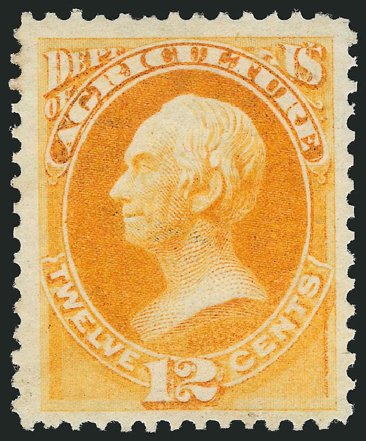 US Stamp Price Scott Cat. #O6: 1873 12c Agriculture Official. Robert Siegel Auction Galleries, Nov 2014, Sale 1085, Lot 4014