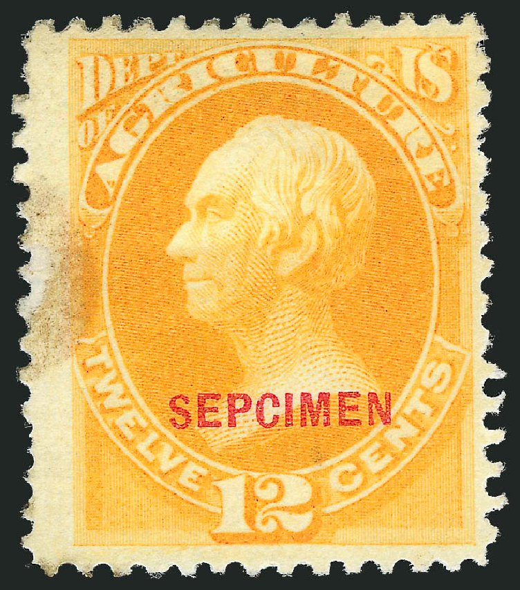 Price of US Stamp Scott Catalog # O6 - 1873 12c Agriculture Official. Robert Siegel Auction Galleries, Dec 2011, Sale 1017, Lot 985