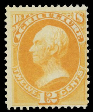 US Stamp Value Scott #O6: 12c 1873 Agriculture Official. Daniel Kelleher Auctions, May 2015, Sale 669, Lot 3333
