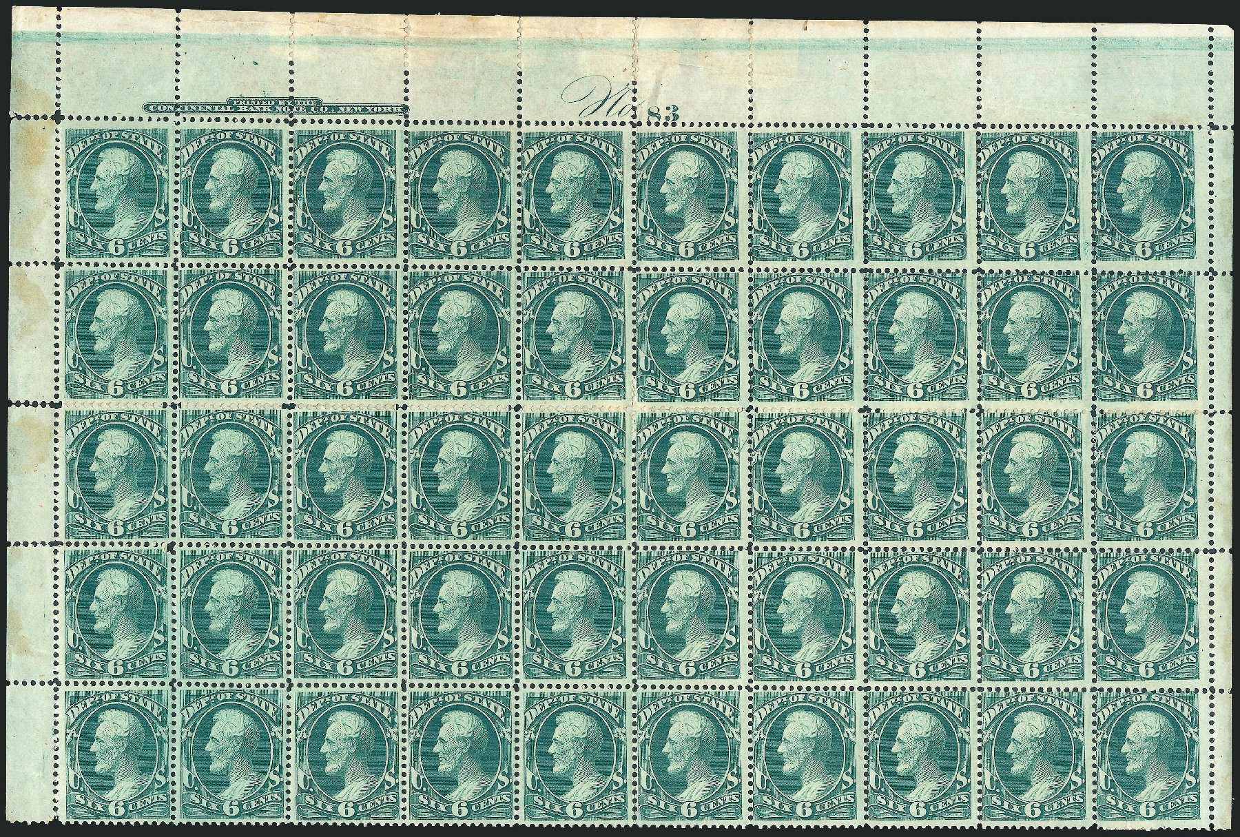 Prices of US Stamp Scott Catalogue #O60 - 1873 6c State Official. Robert Siegel Auction Galleries, Oct 2011, Sale 1014, Lot 2357