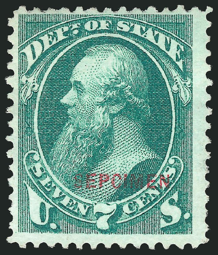 Prices of US Stamps Scott Catalog O61 - 7c 1873 State Official. Robert Siegel Auction Galleries, Mar 2015, Sale 1095, Lot 627
