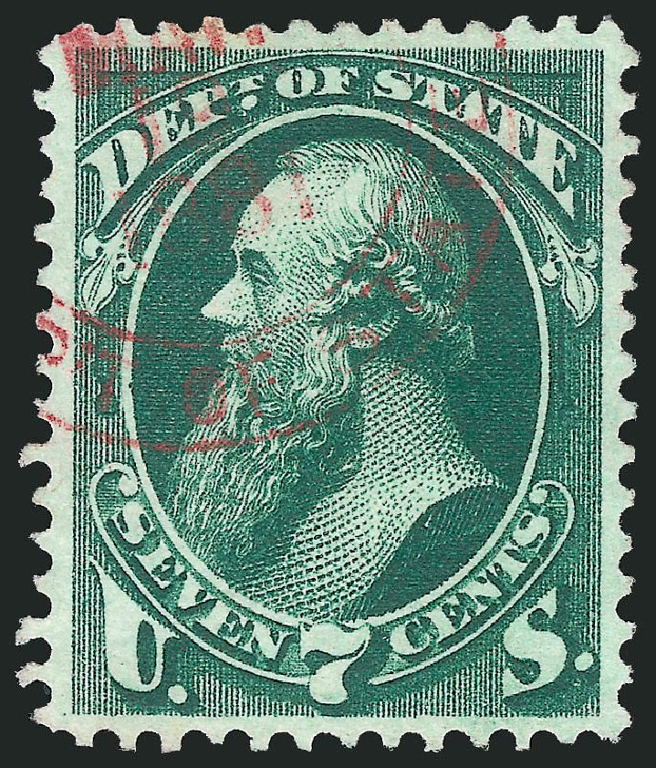 Values of US Stamps Scott # O61: 1873 7c State Official. Robert Siegel Auction Galleries, Dec 2013, Sale 1062, Lot 838