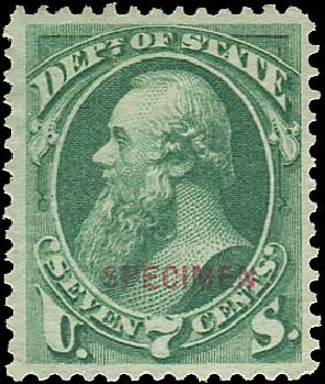 Value of US Stamp Scott Catalogue # O61: 1873 7c State Official. Regency-Superior, Aug 2015, Sale 112, Lot 1179
