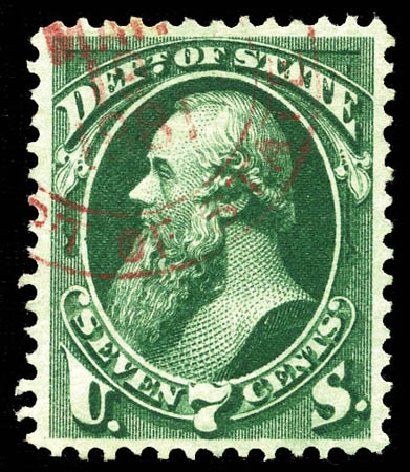 US Stamps Values Scott Cat. # O61: 1873 7c State Official. Matthew Bennett International, Mar 2012, Sale 344, Lot 4820