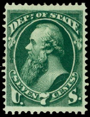 US Stamps Price Scott #O61 - 7c 1873 State Official. Daniel Kelleher Auctions, Aug 2015, Sale 672, Lot 2991
