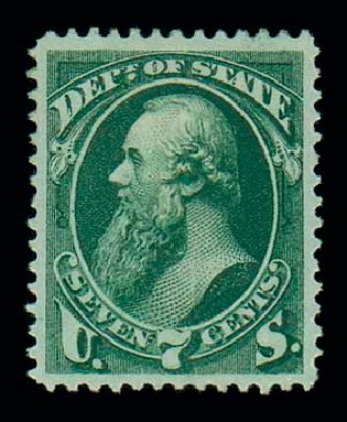 US Stamps Prices Scott O61 - 7c 1873 State Official. Matthew Bennett International, Jun 2007, Sale 319, Lot 1685