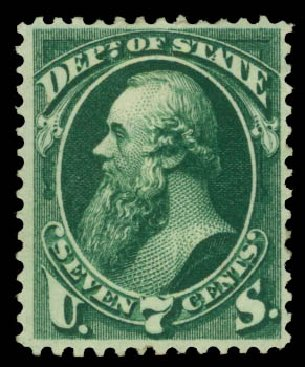 US Stamps Prices Scott Catalog O61: 7c 1873 State Official. Daniel Kelleher Auctions, May 2015, Sale 669, Lot 3375