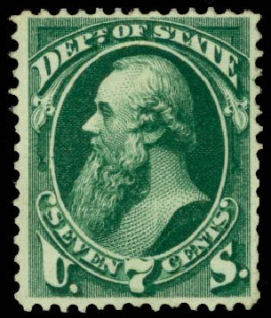 US Stamps Values Scott Cat. #O61: 7c 1873 State Official. Daniel Kelleher Auctions, Aug 2015, Sale 672, Lot 2992