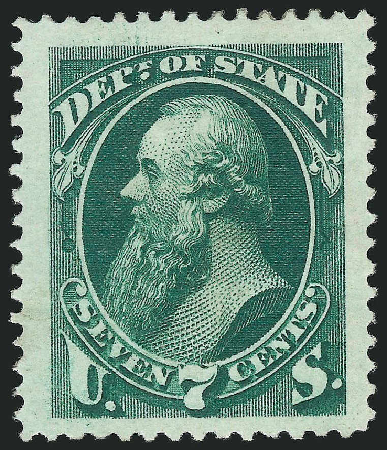 US Stamp Price Scott Catalogue # O61 - 1873 7c State Official. Robert Siegel Auction Galleries, Nov 2014, Sale 1085, Lot 4092