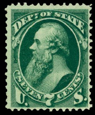 Prices of US Stamps Scott Catalog # O61 - 7c 1873 State Official. Daniel Kelleher Auctions, Dec 2013, Sale 640, Lot 613