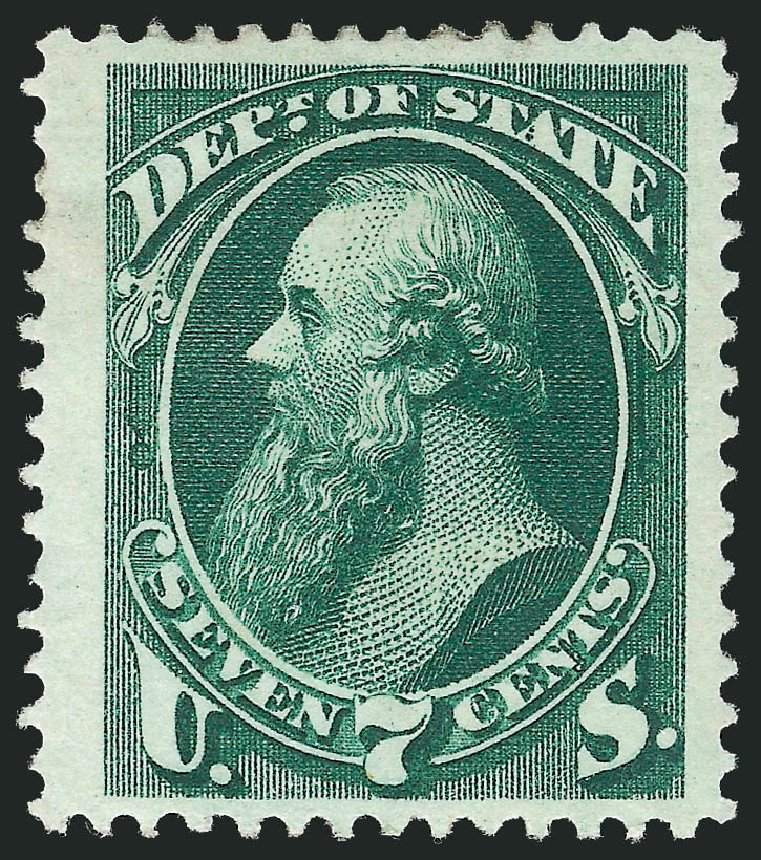 Values of US Stamp Scott O61 - 1873 7c State Official. Robert Siegel Auction Galleries, Oct 2012, Sale 1033, Lot 4313