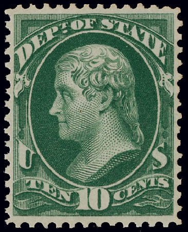 Cost of US Stamps Scott Cat. # O62: 1873 10c State Official. Matthew Bennett International, Jun 2008, Sale 328, Lot 1237