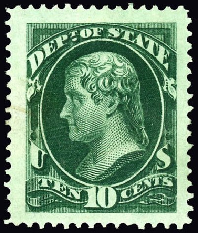 US Stamp Price Scott Catalog #O62: 10c 1873 State Official. Matthew Bennett International, Dec 2008, Sale 330, Lot 1927