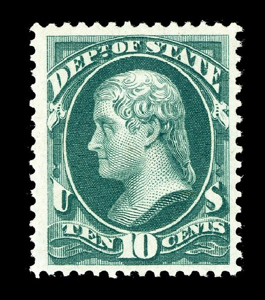 US Stamp Value Scott Catalog # O62 - 1873 10c State Official. Spink Shreves Galleries, May 2014, Sale 148, Lot 397
