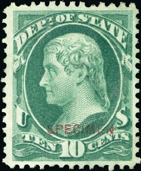Price of US Stamps Scott Catalogue O62: 1873 10c State Official. Spink Shreves Galleries, Jan 2015, Sale 150, Lot 257