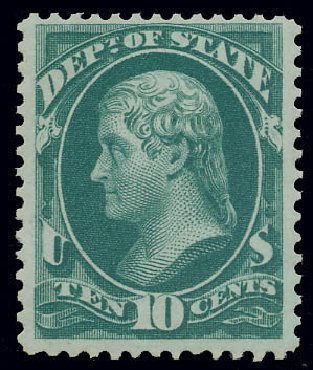 US Stamp Value Scott # O62: 1873 10c State Official. Matthew Bennett International, Jun 2008, Sale 328, Lot 1238