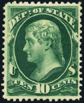 Values of US Stamps Scott Catalogue O62 - 10c 1873 State Official. Harmer-Schau Auction Galleries, Oct 2012, Sale 95, Lot 298