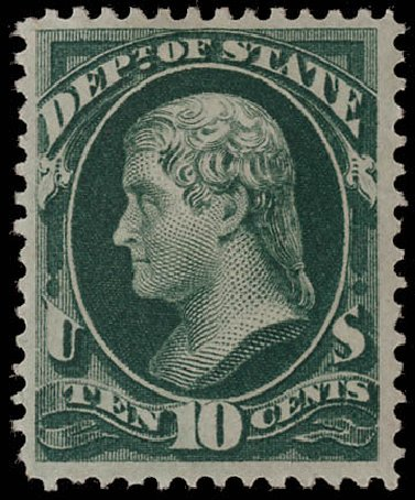 Cost of US Stamps Scott # O62 - 10c 1873 State Official. Matthew Bennett International, Jun 2008, Sale 328, Lot 1239