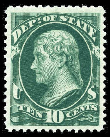 Costs of US Stamp Scott Catalog O62: 10c 1873 State Official. Matthew Bennett International, Feb 2012, Sale 340, Lot 600