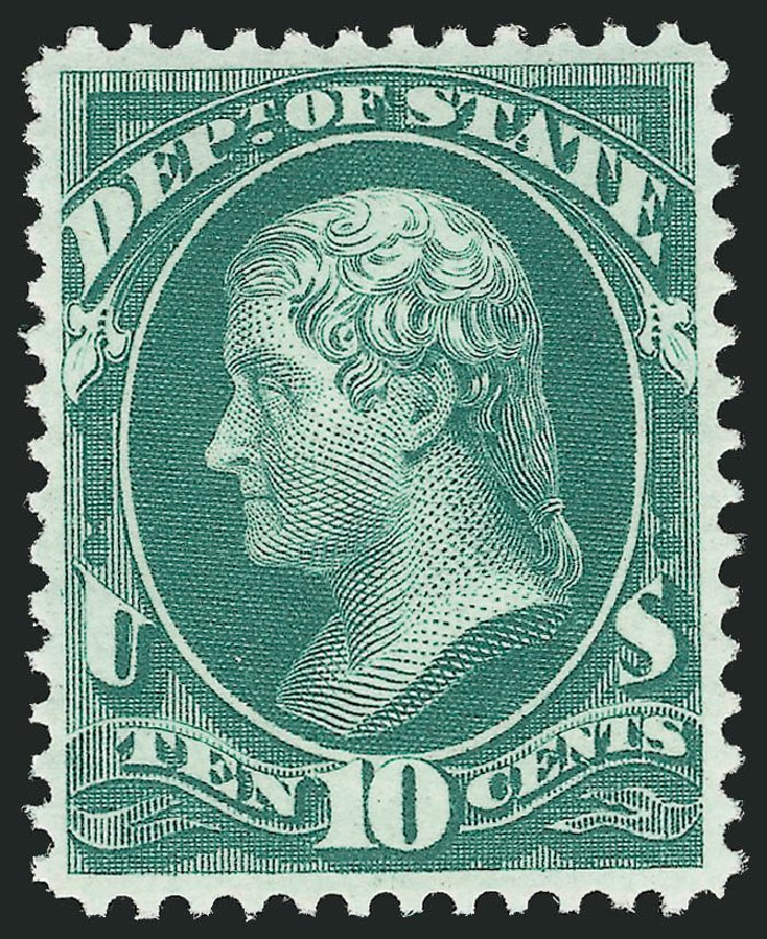 US Stamps Prices Scott Catalog #O62 - 10c 1873 State Official. Robert Siegel Auction Galleries, Feb 2015, Sale 1092, Lot 1461