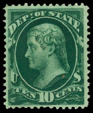 Price of US Stamp Scott Catalog O62 - 1873 10c State Official. Daniel Kelleher Auctions, Aug 2015, Sale 672, Lot 2994