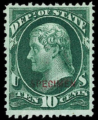 Value of US Stamps Scott Catalog O62: 10c 1873 State Official. Matthew Bennett International, Apr 2008, Sale 326, Lot 685
