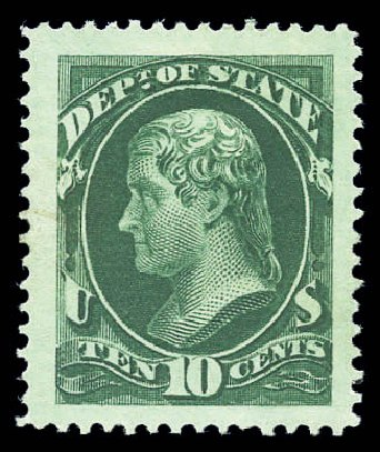 US Stamp Price Scott Cat. # O62 - 1873 10c State Official. Matthew Bennett International, Sep 2010, Sale 333, Lot 3995