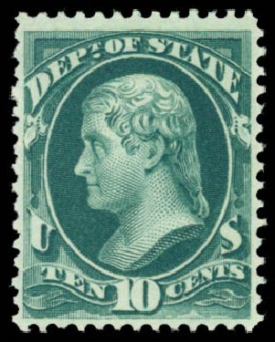 Values of US Stamp Scott #O62: 10c 1873 State Official. Daniel Kelleher Auctions, Dec 2014, Sale 661, Lot 465