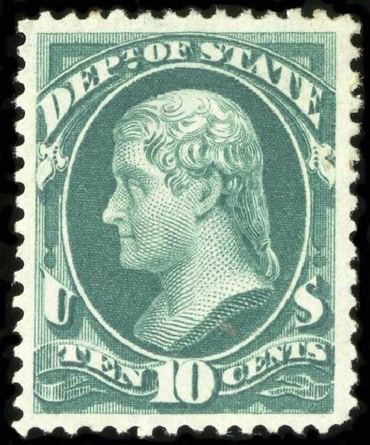 Price of US Stamps Scott Cat. O62 - 10c 1873 State Official. Spink Shreves Galleries, Jul 2015, Sale 151, Lot 395