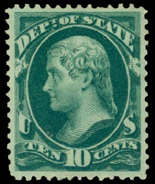 US Stamp Values Scott Catalog #O62: 10c 1873 State Official. Daniel Kelleher Auctions, Aug 2015, Sale 672, Lot 2993