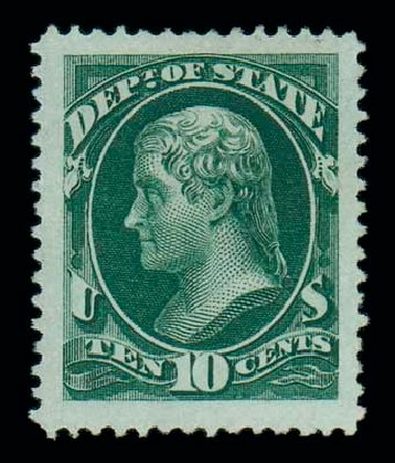 US Stamps Values Scott Catalogue #O62: 10c 1873 State Official. Matthew Bennett International, Jun 2007, Sale 319, Lot 1686