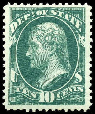 US Stamp Value Scott Catalog O62 - 10c 1873 State Official. Matthew Bennett International, Apr 2008, Sale 326, Lot 686