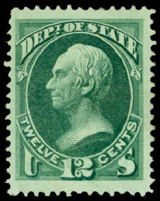 US Stamps Prices Scott Catalogue O63 - 1873 12c State Official. Daniel Kelleher Auctions, Mar 2013, Sale 635, Lot 798