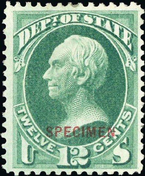 Values of US Stamp Scott Cat. #O63 - 1873 12c State Official. Spink Shreves Galleries, Jan 2015, Sale 150, Lot 258