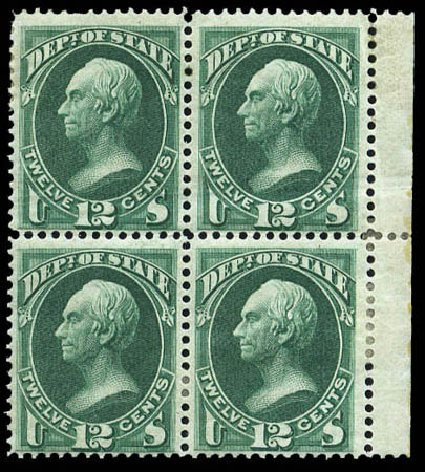 US Stamp Prices Scott Catalogue O63: 1873 12c State Official. Matthew Bennett International, Mar 2011, Sale 336, Lot 1412