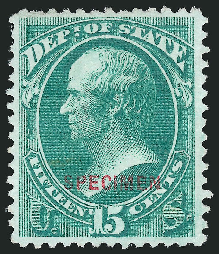 Price of US Stamps Scott Catalogue O64 - 1873 15c State Official. Robert Siegel Auction Galleries, Nov 2013, Sale 1061, Lot 4208